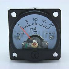 1PC 45mm DC200MA Ampere Panel Meter FR 2A3,300B,6550,211,KT88,845,805 Tube Amps