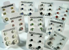 3 PAIRS SMALL MINI STUD EARRINGS CRYSTAL DIAMANTE/PEARL/STONED BLACK & COLOURS
