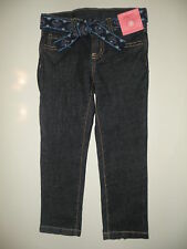 GYMBOREE PEACOCK PETALS DENIM GEM BELTED SKINNY JEANS 3 NWT