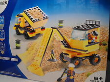 TOY CONSTRUCTION BUILDING BRICKS SET  JCB TYPE DIGGER TIPPER TRUCK BUILDING SET
