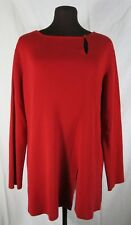 Bloomingdales Red Wool Tunic Sweater Fine Rib Button Front Slit Medium