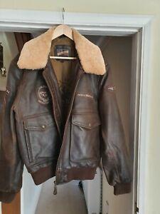 Leather flying bomber jacket xxl