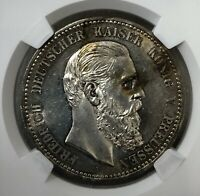 1888 A GERMAN 5 MARK PRUSSIA SILVER COIN NGC MS62