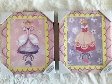 """New Set of Two Princess Pictures with Ribbon Hangers, 12"""" x 10' x 2.5"""""""