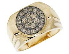 Mens 10K Yellow Gold Real Treated Brown Diamond Step Shank Pinky Ring .80ct 14MM