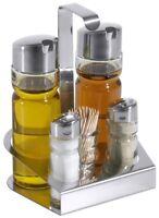 Menage für Salz & Pfeffer, Essig & Öl, mit Glas für Zahnstocher, Edelstahl 18/0