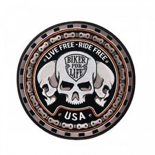 """Trio Skull Patch 9"""" Motorcycle Motorbike biker colourfast embroidered new sealed"""