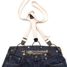 Vintage 50s Style Button On Braces Suspenders/ Ecru & Dark Brown