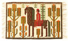 SARMATIAN HORSEBACK B Vintage Polish Folk Art Textile Wall Hanging / Rug 70's