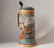 Antique German Etched Beer Stein by J.W.Remy #1218 Flirting Scene c.1900