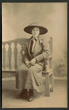 C1920's Portrait Photo of a Young Lady wearing Hat & a long Coat