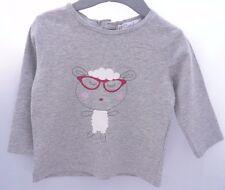 KITCHOUN Tee-shirt manche longue.Gris.motif mouton à lunettes.bébé fille 6 mois