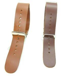 Leather Military One Piece Watch Strap 18mm,20mm,22mm Light Brown Dark Brown