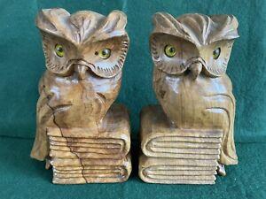 Pair Of Hardwood Owl Book Ends