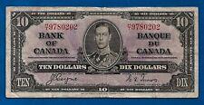 CANADA 1937 paper money prefix H/T TEN 10 dollar bill note King George VI