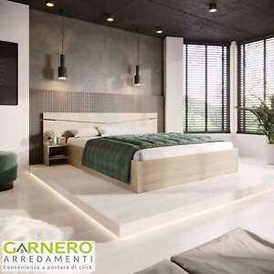 Letto matrimoniale CAMILLA Gihome ® rovere moderno comodini legno design camera