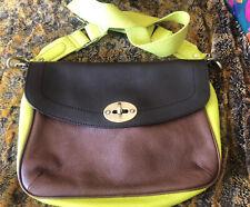 Boden Colorblock Cross Body Handbag - brown/dark brown/neon yellow Leather EUC