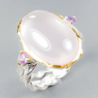 Fine Art Jewelry Natural Rose Quartz 925 Sterling Silver Ring Size 9/R122707