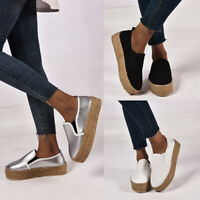 Womens Platform Hidden Wedge Shoes Canvas Pumps Round Toe Loafers Soft Sneakers