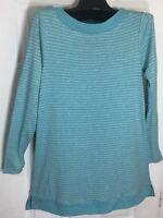 New J Jill women size Small Boat neck Pima cotton Tunic stripes long sleeve
