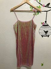 Free People + Anna Sui Pink Iridescent Sequin Slip Style Dress S/P