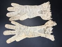 Vintage White Crochet Laced End Wrist Length Gloves Size Small