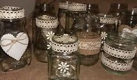 Rustic Table Wedding Decorations 16 Assorted Upcycled Hand Decorated Jars