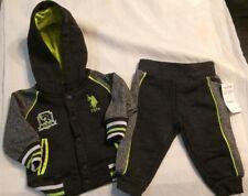US Polo Assn. Childrens Apparel Baby Boys 2 Piece Fleece Gray/ Green 6/9M