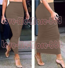 Solid Tight Fitted Slim Casual Party Club Tube Maxi Long Skirts Dress Tan MEDIUM