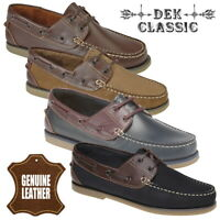 DEK Men's Smooth and Nubuck Leather Casual Boat Shoes - Brown Navy Blue
