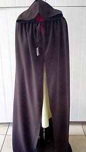 dark brown cloak cape with hood and ties  fantasy wizard medieval unisex