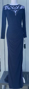 Adrianna Papell Womens Navy Sequin Illusion-Lace Long Sleeve Dress Size 4 - NEW