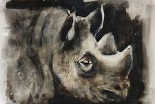 Acuarela * watercolor * Rinoceronte   * Pintura original