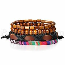 4pcs Handmade Retro Simple Tribal Twisted Leather Buddha Beads Bracelet Cuff Set