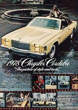 1978 Chrysler Cordoba Original Advertisement Print Art Car Ad H68