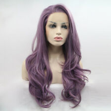 Milky lavender smokey purple long natural makeup lace front Wig women's wigs