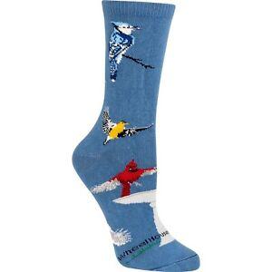 Backyard Birds Crew Socks Womens Woodpecker cardinal blue jay Wheelhouse Designs