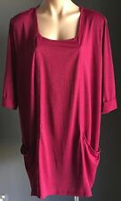 Stylish TAKING SHAPE Cerise Stretch Short Sleeve Tunic Top Plus Size 24
