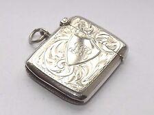 Bell 'antico James Deakin in Argento Sterling Silver Vesta Case Chester 1915