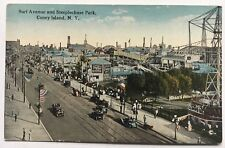 1912 NY Postcard Surf Avenue Steeplechase Park early cars rides people tracks