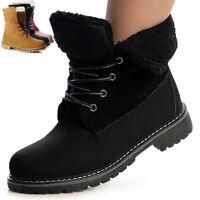 Damen Worker Boots Stiefeletten Stiefel Booties Winter Futter