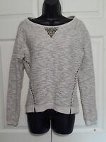 Lucky Brand Women's Sweater Lotus  Sweatshirt Sm Ivory Gray Metallic Studded