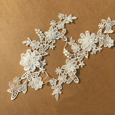 3D Flower White Lace Trim Embroidered Applique Wedding Bridal Cloth DIY Sewing