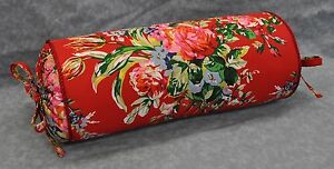 NEW Corded Neck Roll Pillow made w Ralph Lauren Belle Harbor Red Floral Fabric