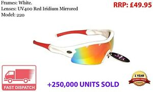 RayZor Cricket Sports Wrap Sunglasses Uv400 White Red Mirrored Lens RRP£49 *b
