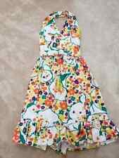 1970s Vintage Bright Flower Print Halter Mod Disco Party Dress SM XS