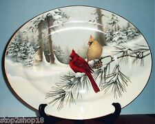 """Lenox Winter Greetings Scenic Serving Platter 16"""" Made In USA Cardinal Birds NEW"""