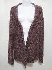 J. Jill Womens XL Purple Boucle Deep V-Neck Cardigan Sweater Cotton Blend