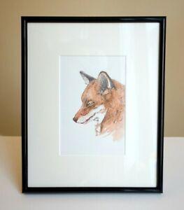 Fox NEW! FRAMED original watercolour & pen paintings 8x10inch STUDIO CLEARANCE