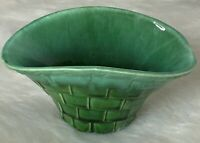 Vintage California USA Pottery Green Basket Vase